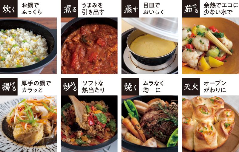 炊く・煮る・蒸す・茹でる・揚げる・炒める・焼く・オーブン調理(天火)